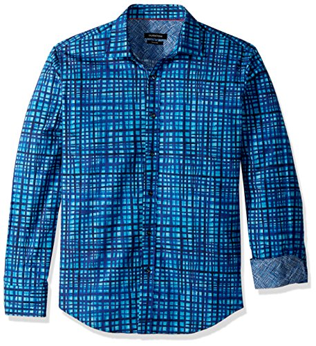 Bugatchi Men's Cotton Shaped Fit Delmon Button Down, Turquoise, S by Bugatchi