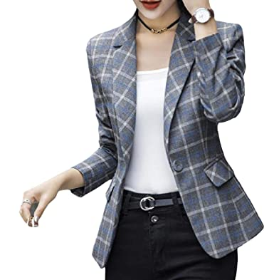 05904db30d5 FieerWomen Plus-Size Long-Sleeve Button Lapel Plaid Thin Short Blazer  Jackets Pattern1 2XL