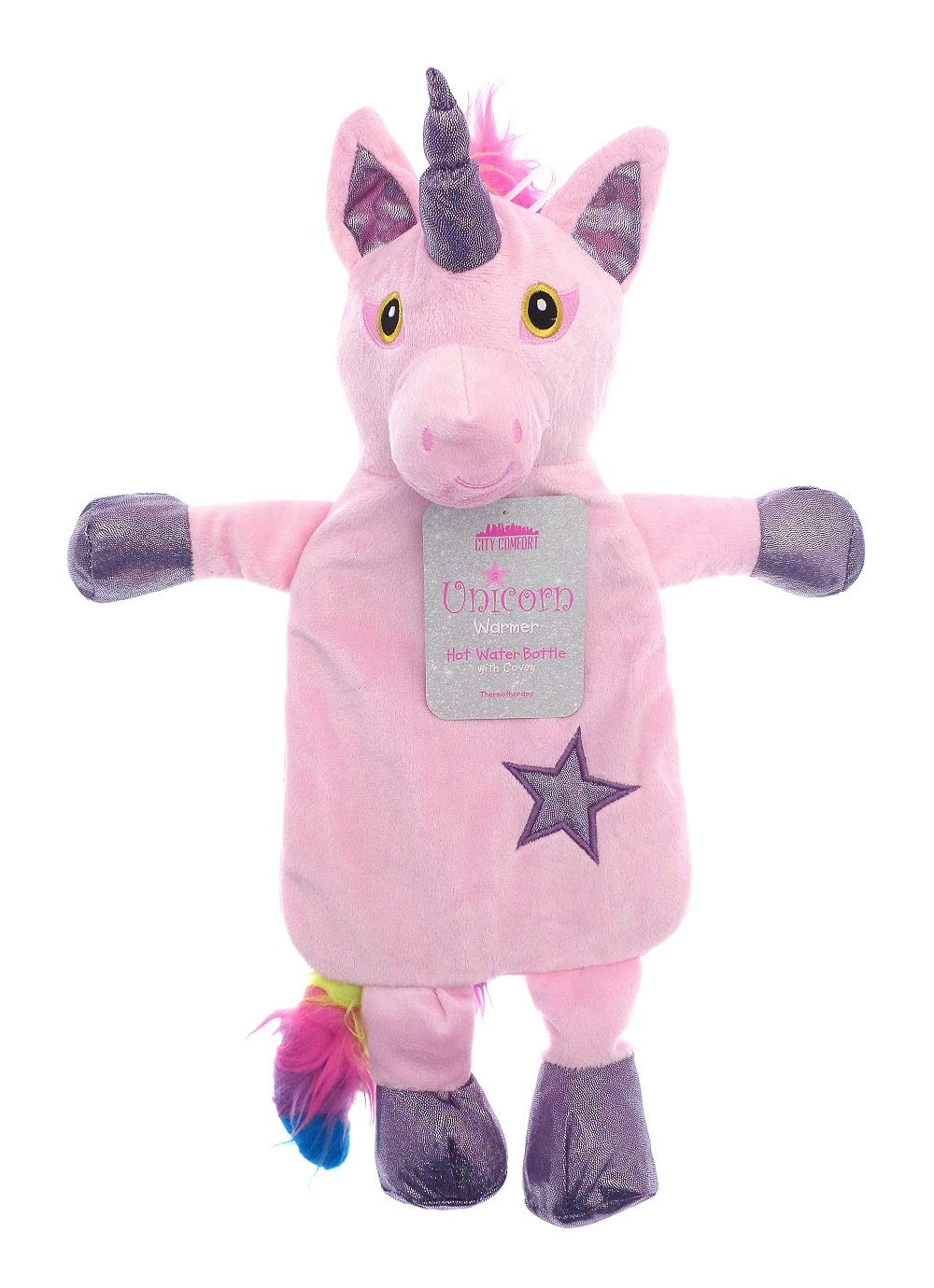 Kids Hot Water Bottle with Cover 1L 100/% Natural Rubber Plush Peluche Rabbit Koala Reindeer Christmas Elf Rainbow Unicorn Gift Accessories Stripy Scarf Reindeer