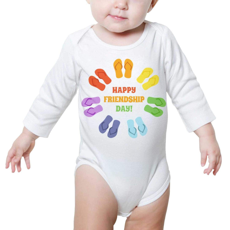 PoPBelle Happy Best Friend Day Baby Onesies Bodysuit Long Sleeve Neutral Cotton Gift