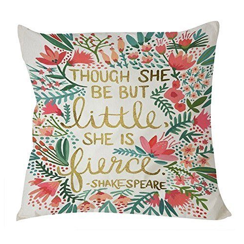 Cukudy B Lyster shop Shake Speare Quote Though She Be but Little She Is Fierce W013 Cotton & Polyester Soft Zippered Cushion Throw Case Pillow Case Cover (Shop Throw Pillows)