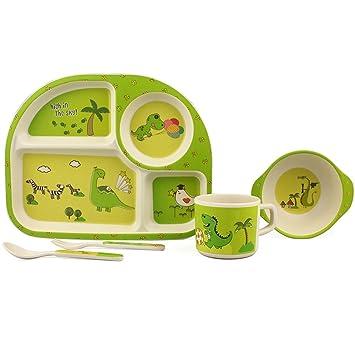 Amazoncom Kids 5 Piece Dinnerware Set Cute Toddler Meal Set Eco