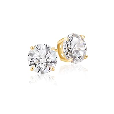 d2fde606c Amazon.com: Lusoro 925 Sterling Silver Gold Plated Round Cut AAA Cubic  Zirconia Stud Earrings - 1/2 Carat Total Weight CZ: Jewelry