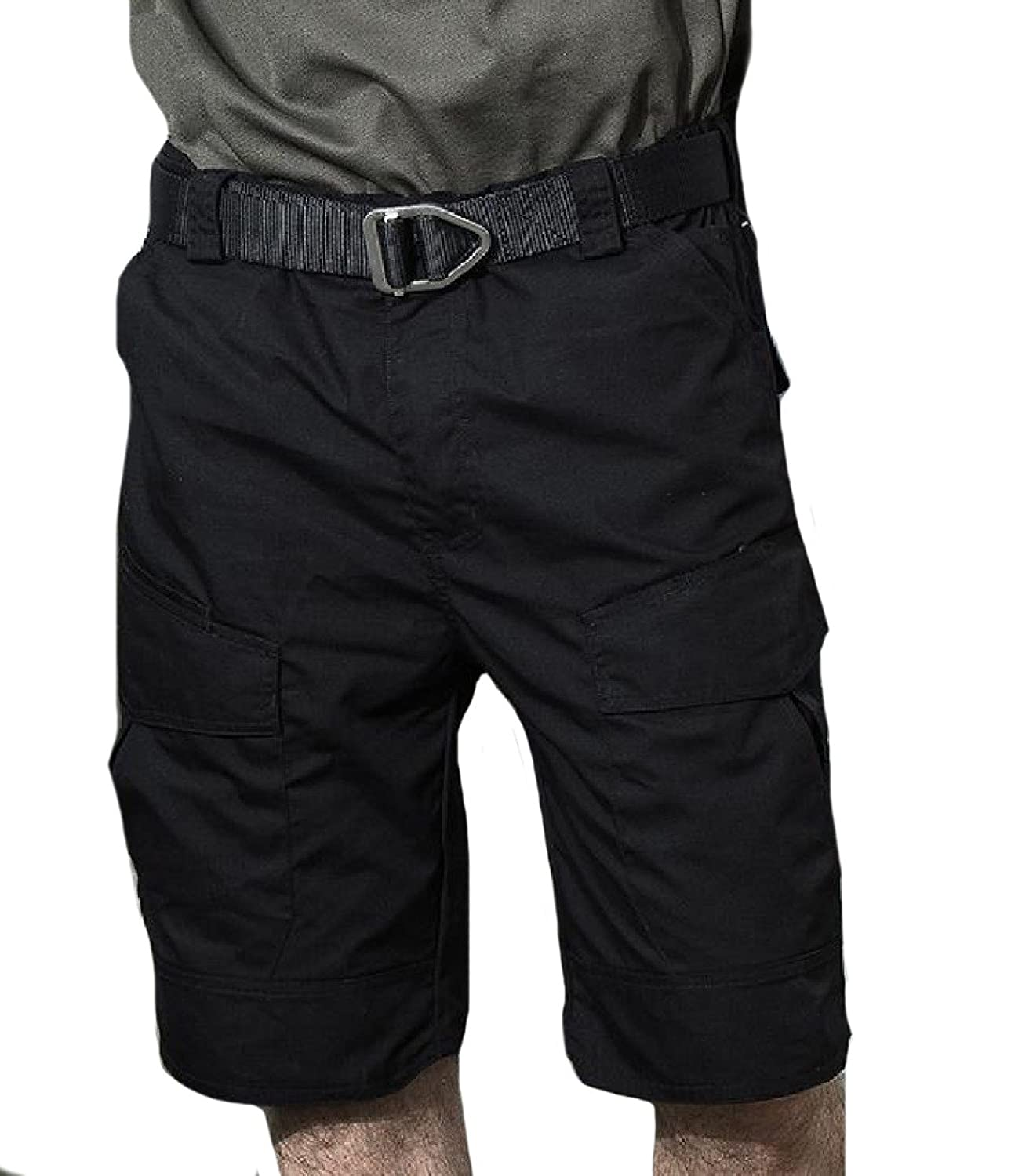 CuteRose Men Retro Vogue Leisure Classics Big Pockets Cargo Shorts