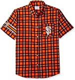 FOCO KLEW MLB San Francisco Giants Wordmark Flannel Short Sleeve Button-Up Shirt