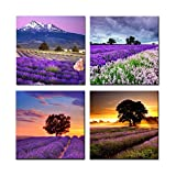 Home Art Contemporary Art Landscapes Giclee Canvas Prints Framed Canvas Wall Art For Home Decor Perfect 4 Panels Wall Decorations for Living Room Bedroom Office Each Panel Size:12x12inch