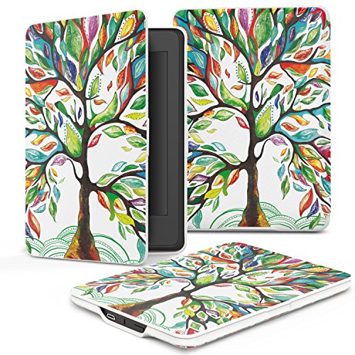 e-Life Kindle Case for Kindle All-New Paperwhite Thinnest and Lightest PU Leather Cover with Auto Wake/Sleep for Amazon Kindle, Lucky Tree by Elife