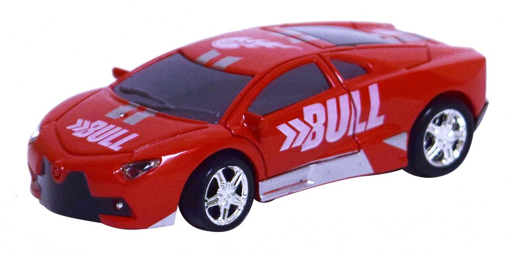 As Seen On TV RC Pocket Racers Remote Controlled Micro Race Cars Vehicle, Bull Red