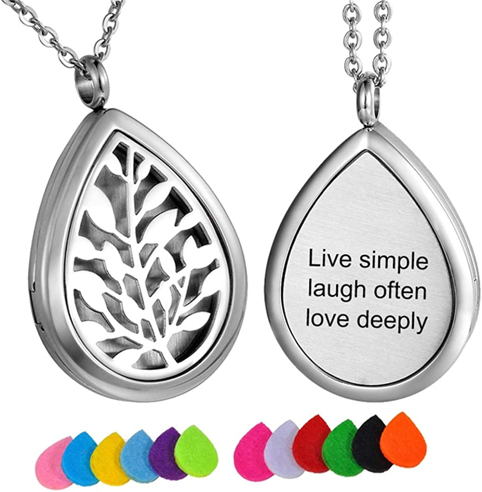 HooAMI Aromatherapy Essential Oil Diffuser Necklace Engraved Pendant Locket Jewelry - Live Simple,Laugh Often,Love Deeply