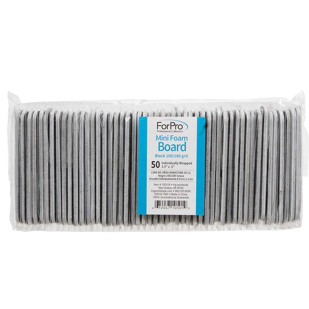 ForPro Black Mini Foam Boards, 100/180 Grit, Double-Sided Manicure Nail File, 3.5'' L x .5'' W, 50-Count by ForPro