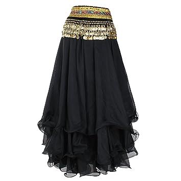 fd38c9f071ed Belly Dance Skirt Chiffon Full Circle Dress Costume Clothes (Black ...