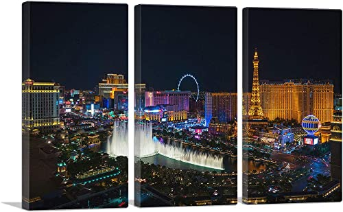 ARTCANVAS Las Vegas Strip Nevada Party City at Midnight Canvas Art Print