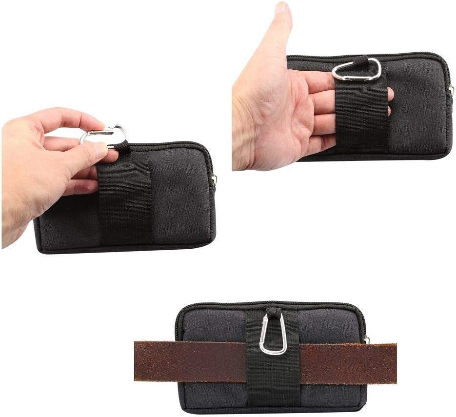Funda Cinturon Horizontal Multiusos con 2 Compartimentos de Cremallera para Xiaomi Redmi Note 9S 17 x 10 x 2 cm - Negra 2020 DFV mobile