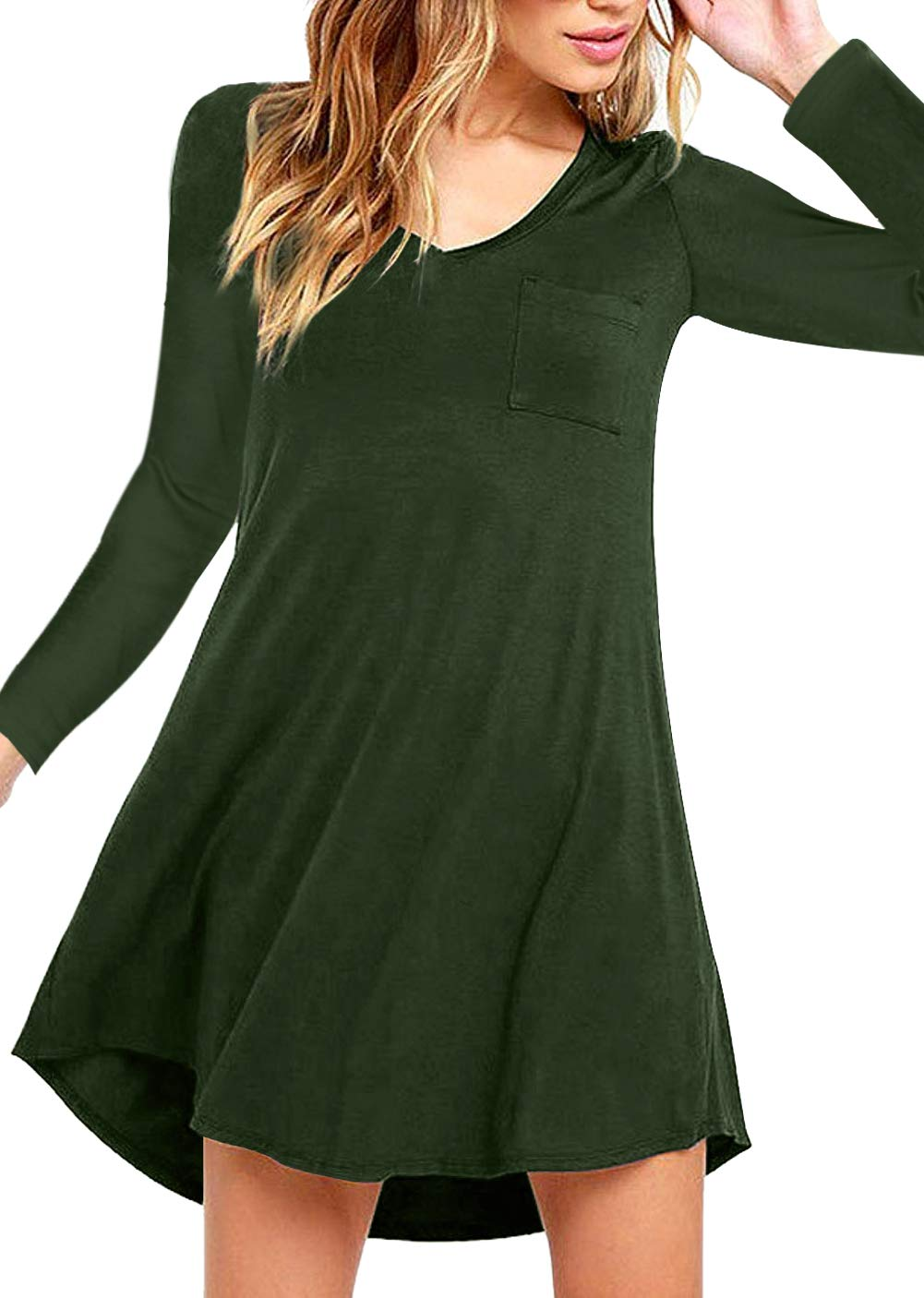 Eanklosco Womens Casual Short Sleeve Plain Pocket V Neck T Shirt Tunic Dress (Green-1, M)