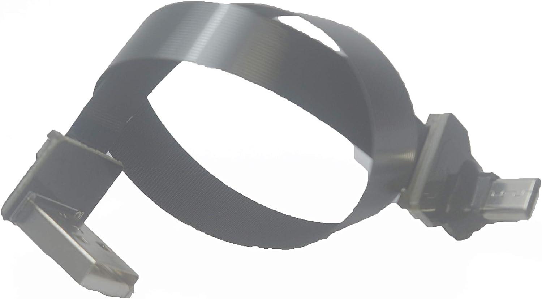 5CM Micro USB 1 to Standard USB A UP Soft Flat Slim Thin Ribbon Micro USB Male 90 Degree Angled to Standard USB A Male 90 Degree Angled for sync and Charging Black