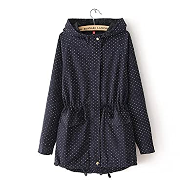 B Dressy Autumn Winter Women Cute Polka Dots Hooded Trench Abrigos Chaquetas Plus Size XXXL Coat