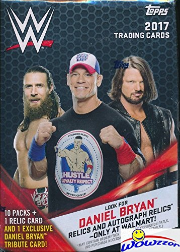Kiss Card (2017 Topps WWE Wrestling HUGE EXCLUSIVE Factory Sealed Retail Box with 10 Packs and WWE RELIC Card! Look for Cards, Autographs & Relics of Jon Cena, Sting, Ric Flair, Triple H & Many More! WOWZZER)