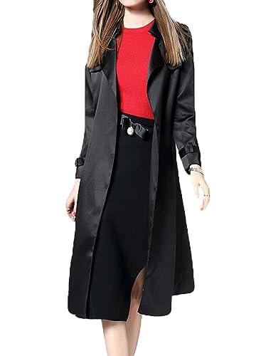 La Sra Primavera Y El Otoño Abrigo Temperamento Solapa Con Cinturón Escudo,Black-L