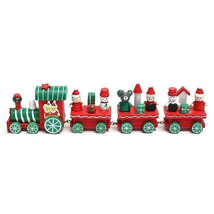 TOYMYTOY Tren de Navidad Tren de papa noel muñeco de nieve Tren de madera para niños Juguete de regalo de Navidad