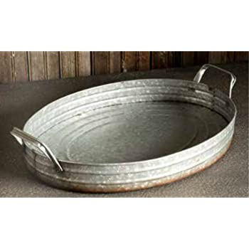 Vintage Farmhouse Style Metal Oval Galvanized Serving Tray