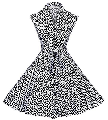 Dot Button BI Vintage Polka Shirt Waist Dress TENCON Sleeveless with Summer Black and White Pockets Tie Women's 1ax0nq1