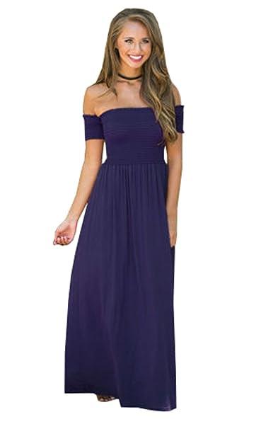 Haroty Mujer Verano Nuevo Vestidos Moda Sexy Un Hombro Vestido Largo Casual Sencillos Bonitos Elegante Vestidos