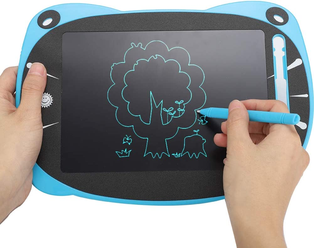 for Kids and Adults at Home Writing Board Doodle Board Solid Color Children Cartoon Hand-Painted Tablet E-Writer Board Blue Big Face Cat Ears Shape Handwriting Pad ASHATA LCD Writing Tablet