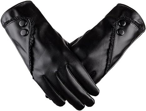Women Gloves Winter Warm PU Leather Gloves Screen Mittens Female