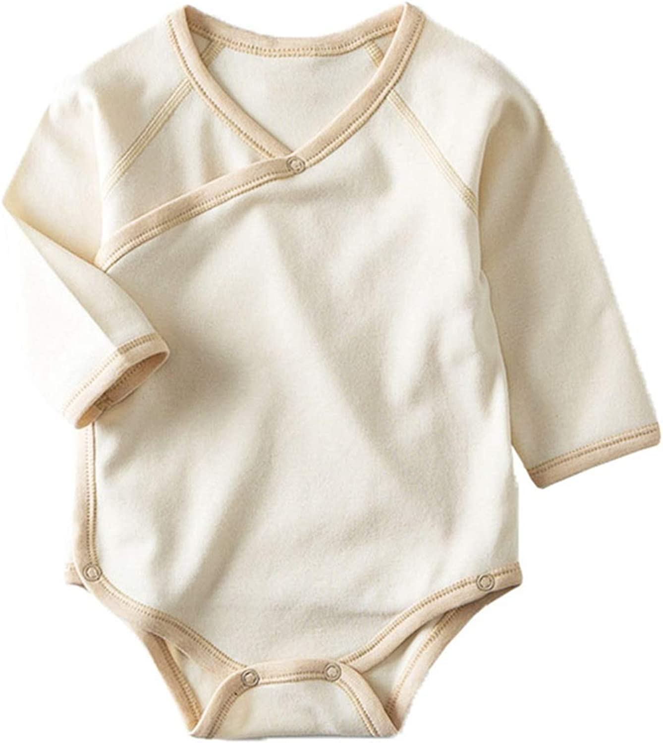 Feing Infant Baby Colored Cotton Long Sleeved Bag Hip Clothes Straps one Piece Jumpsuit