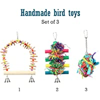 Pet Magasin Hand Made Bird Toys with Interactive Perch, Stand and Swing, 3-Pack