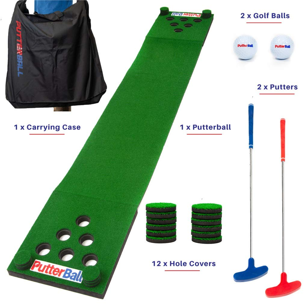 PutterBall Golf Beer Pong Game Set - Includes 2 Putters, 2 Golf Balls, Green Putting Beer Pong Golf Mat, Golf Hole Covers & Carrying Case - Best Backyard Party Golf Game Set by PutterBall