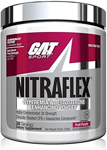 GAT Sport, NITRAFLEX Testosterone Boosting Powder, Increases Blood Flow, Boosts Strength and Energy, Improves Exercise Performance, Creatine-Free Fruit Punch, 30 Servings