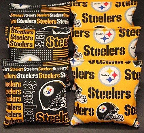 CORNHOLE BEAN BAGS w PITTSBURGH STEELERS fabric ACA Reg Bags