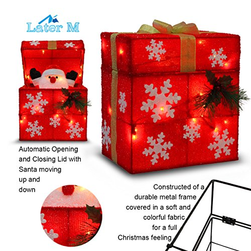 "Later M 01 12"" Gift Box Automatically Open, Santa, Built-in 18 LED Lights, Ip44 Water-Resistant, UL&CE Certificate, Decoration/Christmas Outdoor decorati, Red"