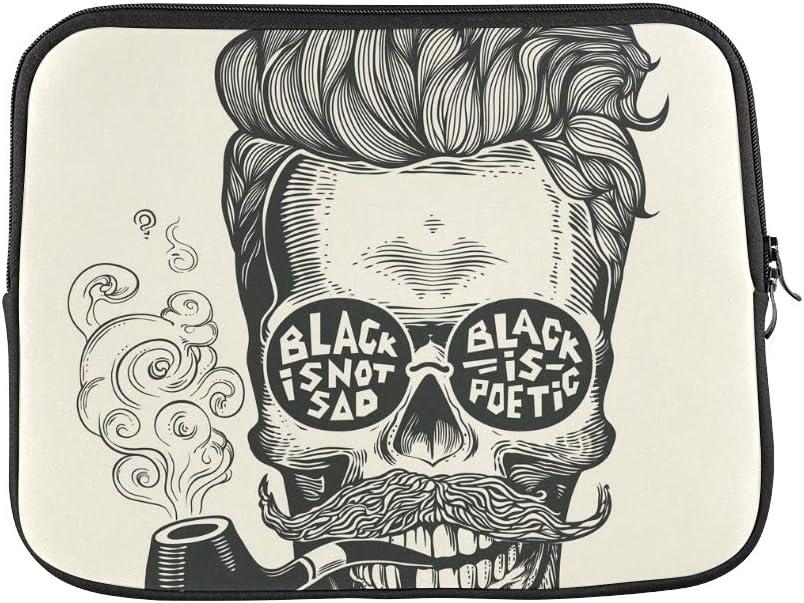 """Design Custom Skull Hipster Skull Silhouette Mustache Beard Sleeve Soft Laptop Case Bag Pouch Skin for Air 11""""(2 Sides)"""