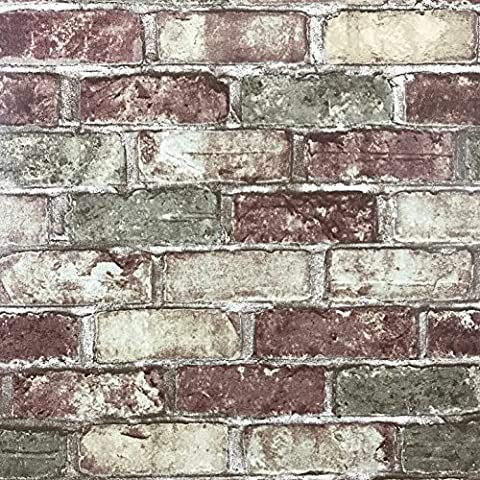 Slavyanski vinyl wallpaper red green rustic coverings textured old vintage retro faux stone brick pattern double roll wallcovering wall paper decal decor textures embossed 3D washable modern (Washable Wallpaper)