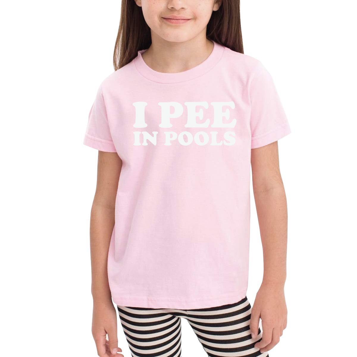 I Pee in Pools Childrens Cotton Pink Short Sleeve Girls Tee Shirt