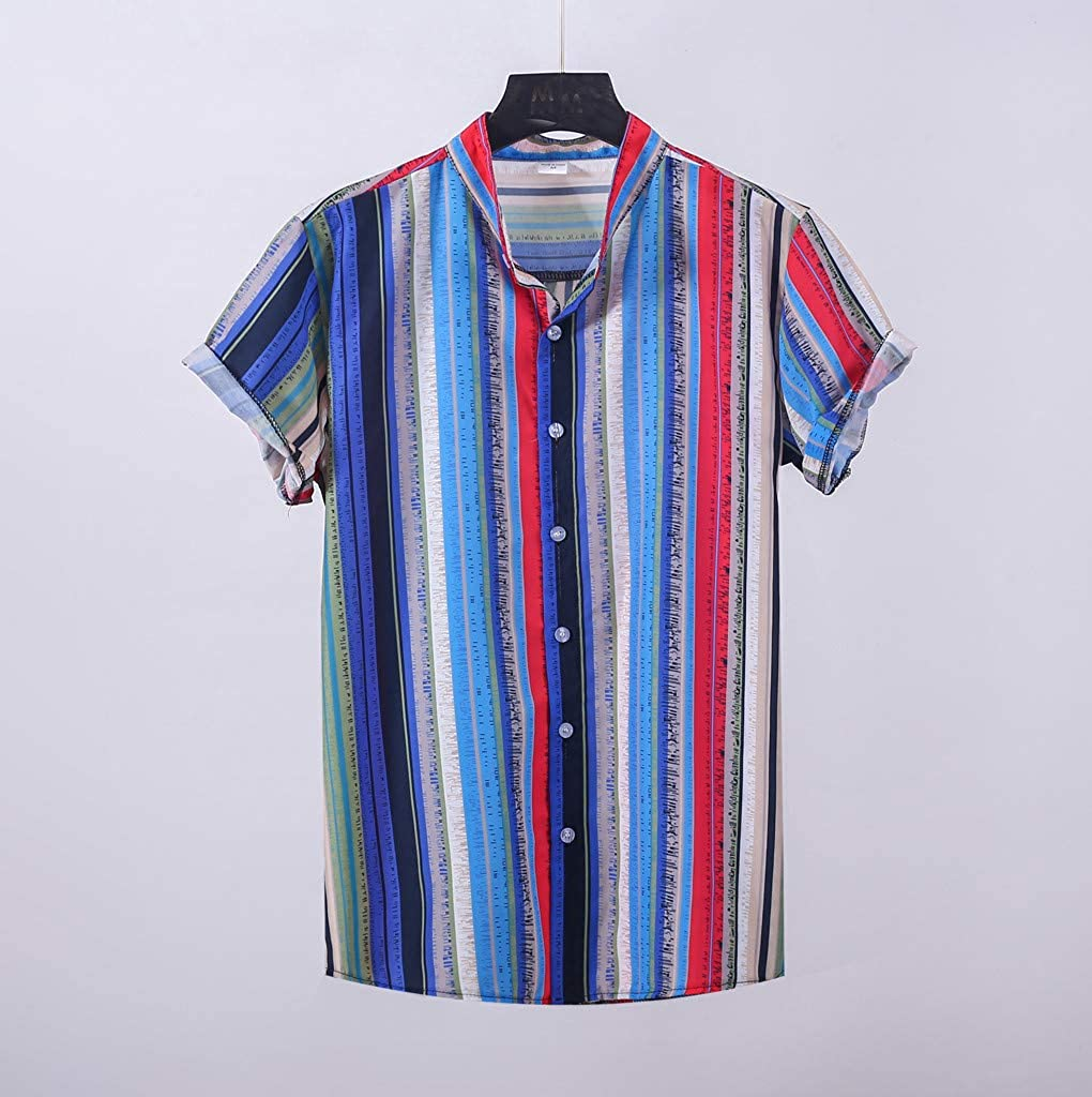 US 2019 Men/'s Summer Casual Floral Plaid Short Sleeve Lapel Shirts T-Shirt Tops