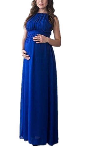 BESTHOO Maxi Vestido Para Mujer Ropa Sin Mangas Elegante Vestidos Lactancia Color Solido Embarazo Vestido Suelto