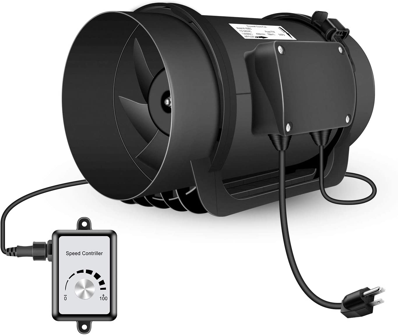 Hon&Guan Inline Duct Fan with Variable Speed Controller 760 CFM, Low Noise EC Motor Ventilation Fan for Heating Cooling Booster, Grow Tents, Hydroponics(8 Inch)