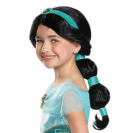Peluca Chica, Moda Jasmine Princesa Peluca Cosplay Pelo Largo Negro de Alta Calidad