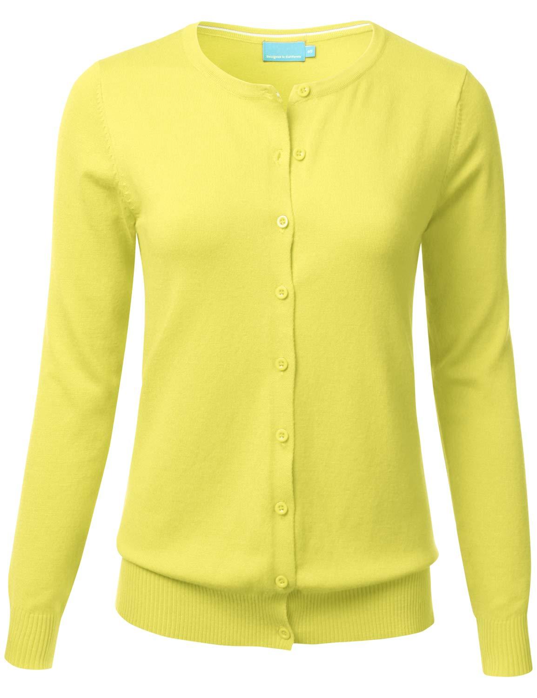 FLORIA Women s Button Down Crew Neck Long Sleeve Soft Knit Cardigan Sweater  LEMONYELLOW 1XL f12fd345d