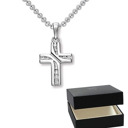 Kreuz Kette Silber 925 mit Zirkonia + inkl. Luxusetui + echt Silber  Kreuzkette mit Stein 8825ec3bbf