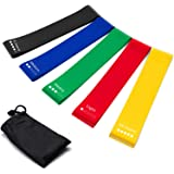 Resistance Bands Set of 5 Exercise Loops 9 inch Workout Bands Home Fitness Yoga Physical Therapy Carry Bag 10-50lbs