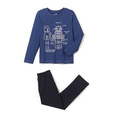 La Redoute Collections Big Boys Robot Cotton Pyjama Set 4b57a74d27a