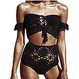 E-Papaya Sexy Off Shoulder Knit Lace up Bikini Top High Waist Bottom Bikini Set