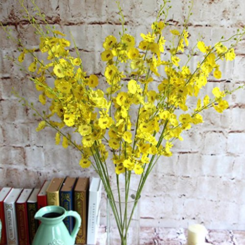 (Prettybuy Dancing Lady Orchid Liquid Illusion Silk Flower Arrangement (Yellow))