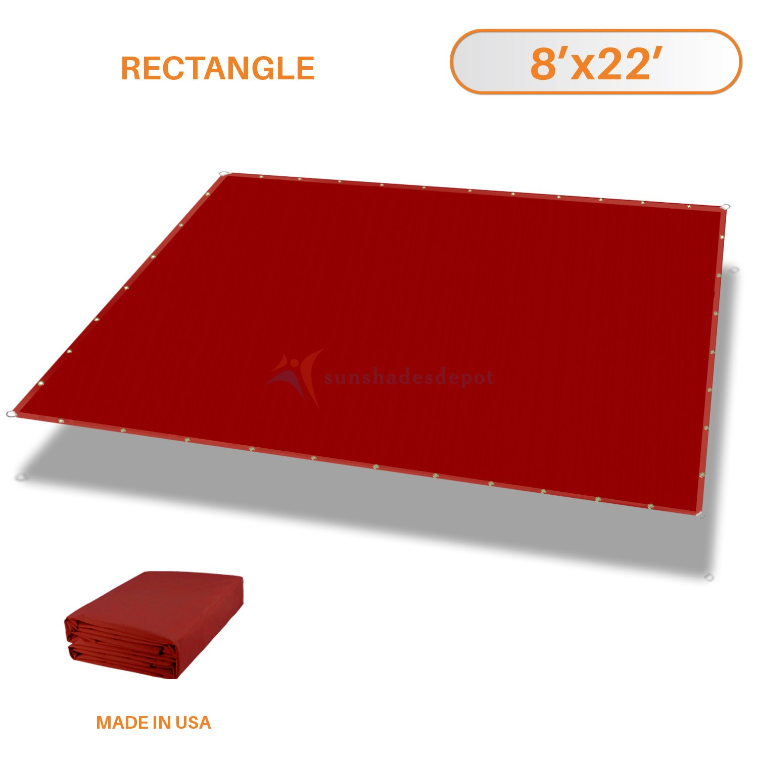 Sunshades Depot Tang 8'x22' Waterproof Rectangle Sun Shade Sail 220 GSM Red Straight Edge Canopy with Grommet UV Block Shade Fabric Pergola Cover Awning Customize Available