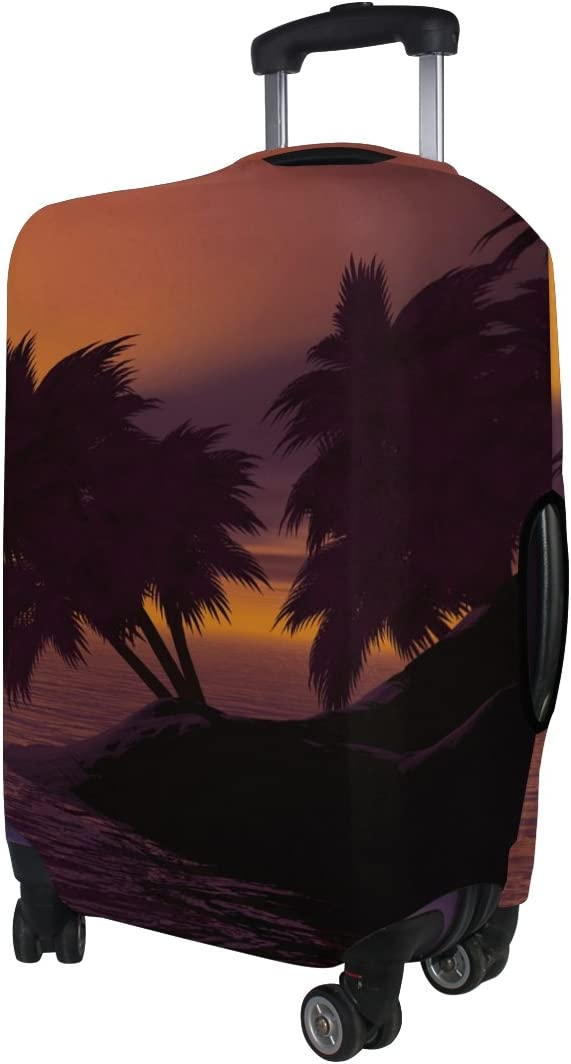 LEISISI Sunset Island Landscape Luggage Cover Elastic Protector Fits XL 29-32 in Suitcase