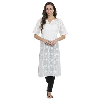 La Vastraa Women Lucknowi Chikan Work White Kurti